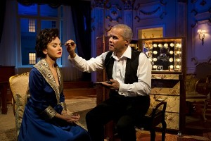 Lisa Maxwell as Judy Garland and Gary Wilmot as Anthony in End of the Rainbow. Pamela Raith Photography